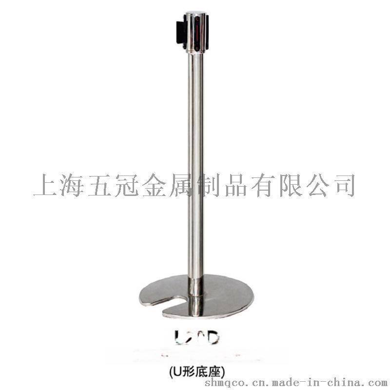 五冠金屬製品一米線欄杆座批發 不鏽鋼U型鑄鐵底座拉伸頭 一米線伸縮隔離帶[L20D]