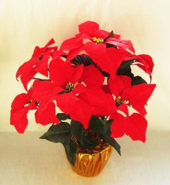仿真一品红盆景仿真圣诞花 仿真花束