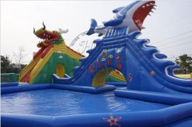 充氣水池滑梯組合動漫水世界海豚滑梯支架游泳池水上樂園