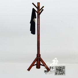 厂家天然原竹落地衣帽架卧室竹衣架简易挂衣架仿红木色竹挂架