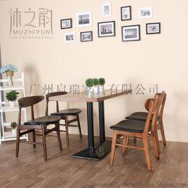 创意咖啡厅桌椅 实木卡座沙发 西餐厅奶茶店桌椅甜品店餐桌椅组合