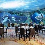 动漫海底世界墙纸装修 餐厅立体卡通壁画 无缝绢丝布