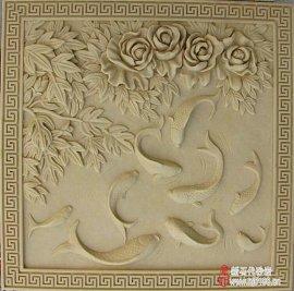 牡丹鱼砂岩浮雕 艺术砂岩雕塑 品牌砂岩雕塑厂家