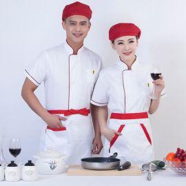 厂家供应涤棉餐饮酒店春夏厨师服短袖防油去污制服食堂工作服白