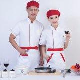 廠家供應滌棉餐飲酒店春夏廚師服短袖防油去污制服食堂工作服白