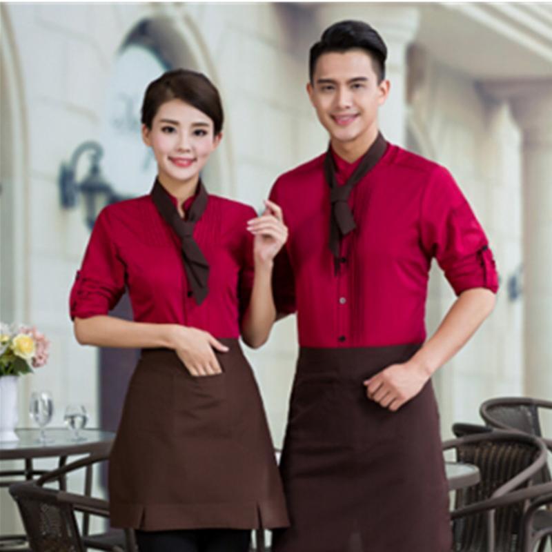 餐飲酒店工作服秋冬裝男女火鍋店  員長袖餐廳工裝送圍裙印店標