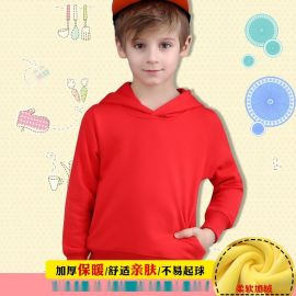儿童纯色卫衣 中大童长袖上衣幼儿园班服定做水貂绒 卫衣儿童新品