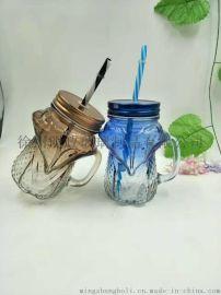 狐狸造型玻璃杯,狐狸形状玻璃杯,果汁杯