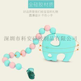 婴儿牙胶吊坠安抚奶嘴夹项链 动物牙胶磨牙器宝宝用硅胶咀嚼玩具