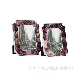 紫色水晶木质全家福相框摆台儿童影楼相框样板房间摆台软装饰摆件
