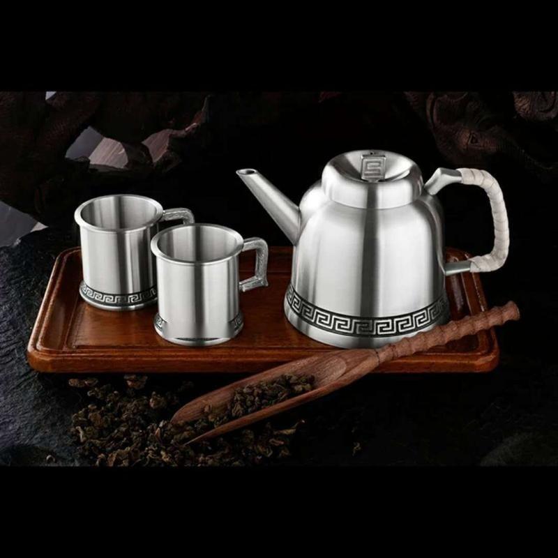 泰国锡器 回纹茶具双杯商务收藏家居