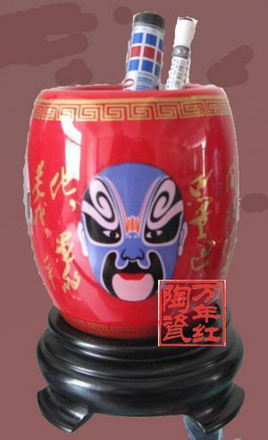 紅瓷筆筒,陶瓷筆筒(11058)