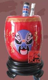 红瓷笔筒,陶瓷笔筒(11058)