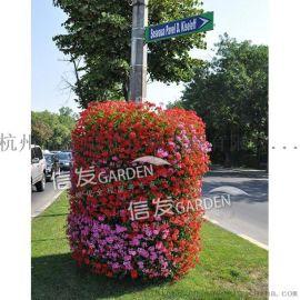 供应灯杆绿化花盆 落地包柱式花盆