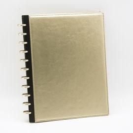 A4笔记本皮革封面配金属环记事本蘑菇孔活页本