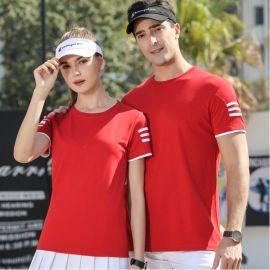 夏季情侣短袖运动装男女大码T恤宽松休闲跑步服团体定制印字logo