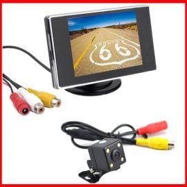 3.5寸可视倒车影像车载液晶显示器+带灯后视摄像头汽车后视系统