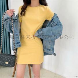 2020夏季韩版新款中长款连衣裙女学生外贸时尚女装裙子衣服