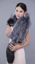 银狐皮草 青狐狸皮草整条皮围脖女士围巾