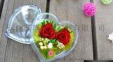 保鲜永生花玫瑰 创意情人节圣诞节生日礼物两花心盒一声相伴