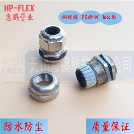 HPF-HSM-T型金属防水电缆接头 黄铜镀镍 M32 金属电缆格兰头