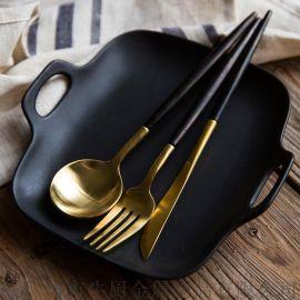 葡萄牙定做 黑金不鏽鋼西食具 牛排刀叉勺 西式食具西餐勺
