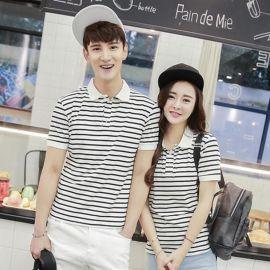 夏季韩版情侣装黑白条纹短袖T恤纯棉翻领POLO衫同学聚会衫加logo