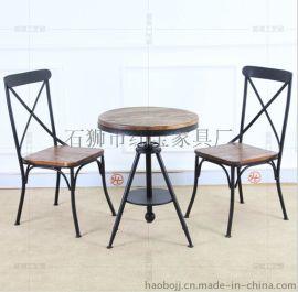 复古咖啡桌LOFT仿古现货铁艺户外咖啡休闲电脑实木桌椅套件餐椅组合