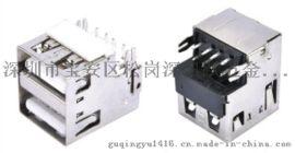 雙層USB A型 8P 沉板式母座 直邊DIP 魚叉腳