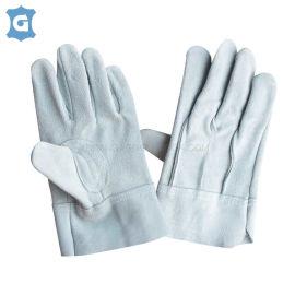 灰色牛二层皮革劳保工作手套