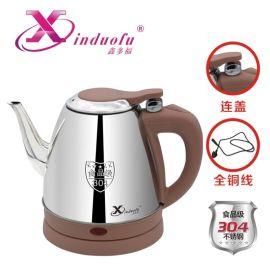 鑫多福304不锈钢全铜线弹盖长嘴电热水壶1.2L