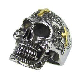 浪尾饰品 316不锈钢铸造戒指 鬼头戒指 十字架鬼头 抹黑复古戒指