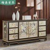 新中式玄关柜入户彩绘鞋柜装饰柜餐厅餐边柜客厅实木柜