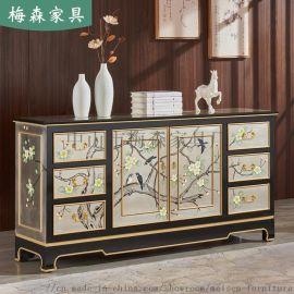 新中式玄關櫃入戶彩繪鞋櫃裝飾櫃餐廳餐邊櫃客廳實木櫃