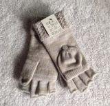 女式欧美新款花式针法翻边半指翻盖手套