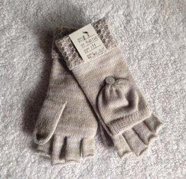 女式歐美新款花式針法翻邊半指翻蓋手套