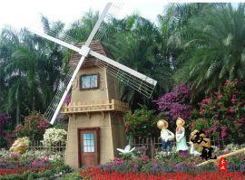 景区装饰风车 荷兰景点风车 商业区道具风车架 木制户外景点风车