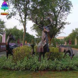 玻璃钢马雕塑 仿铜动物雕塑鹿雕塑鸽子雕塑定制园林景观小品