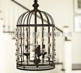 簡約現代中式北歐式復古懷舊美式鄉村田園鐵藝創意鳥籠水晶吊燈
