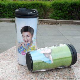 供应双层环保塑料广告杯,可插广告卡纸可印LOGO