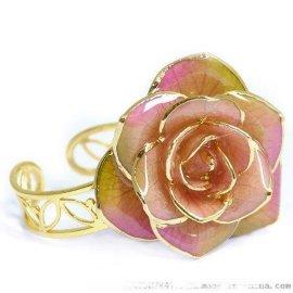 黛雅时尚百搭清新甜美镀金玫瑰花戒指 白渐变粉色 定制 厂家批发