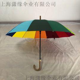 12骨自动彩虹伞、12k直杆长柄伞10骨10k弯柄广告伞礼品伞