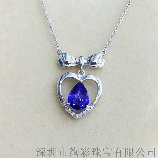 绚彩珠宝 1.01克拉水滴形坦桑石锁骨链