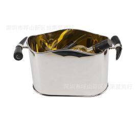 歐式銀色不鏽鋼橢圓形牛角骨冰桶香檳桶紅酒啤酒KTV酒吧用具家用