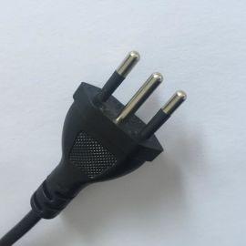 直销巴西两插/三插电源线 三芯巴西电源线注塑一体式插头电源线