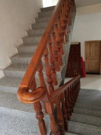 木制楼梯定做_丝瓜柱形楼梯扶手纯实木