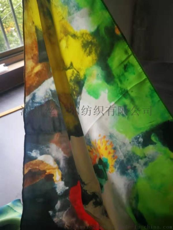 廠家直銷全真絲素縐緞印花圍巾成品