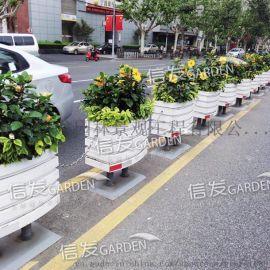 市政道路中间隔离栏隔离带 绿化组合花箱 花盆铝合金