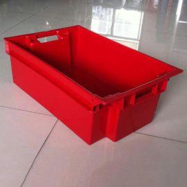 塑料红色错位箱、塑料错位箱,塑料套叠箱
