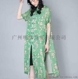 一线女装品牌折扣金兆成丝麻连衣裙拿货几折